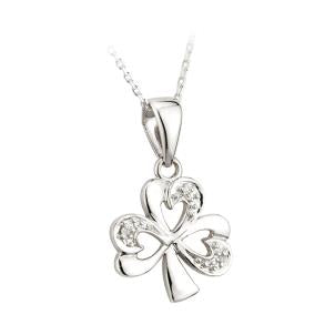 Solvar 14K. White Gold Diamond Shamrock