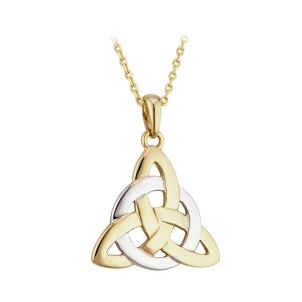 Solvar 14K. Two Tone Fancy Trinity Knot Pendant
