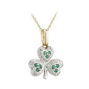 14 K. Yellow Gold Diamond and Emerald Shamrock Pendant