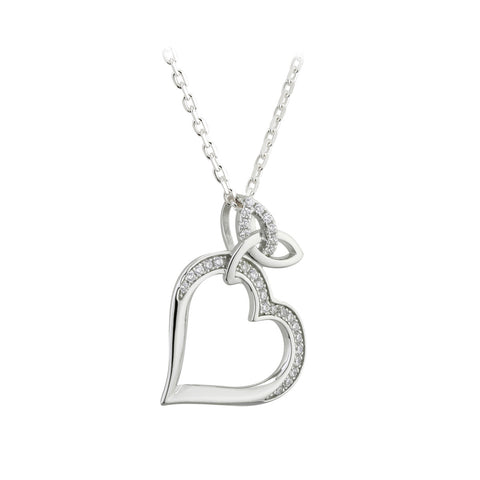 Solvar Sterling Silver Trinity Knot Heart Necklace