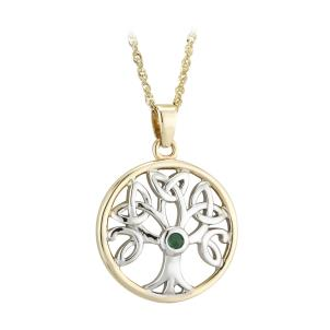 14 K. Two Tone Emerald Tree of Life Pendant