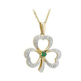 14 K. Diamond and Emerald Shamrock Pendant