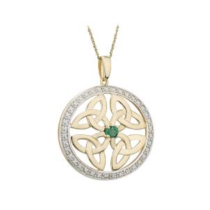 14 K. Gold Emerald Four Trinity Knot Round Pendant