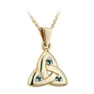 Solvar 14K. Gold and Emerald Trinity Knot Pendant