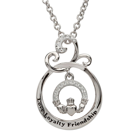 ShanOre SS Swarovski® Claddagh Love Loyalty Friendship Necklace