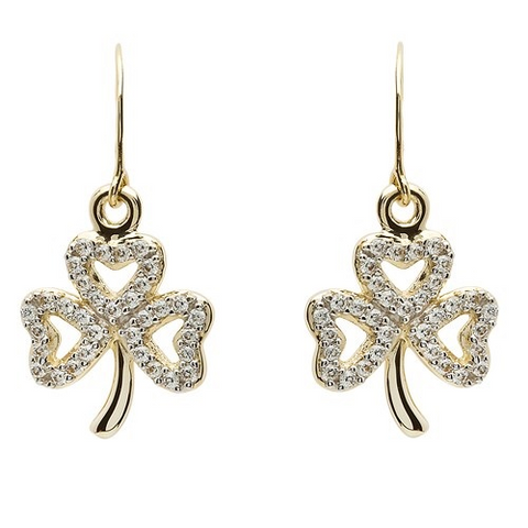 ShanOre 10 Karat Gold CZ Shamrock Earrings