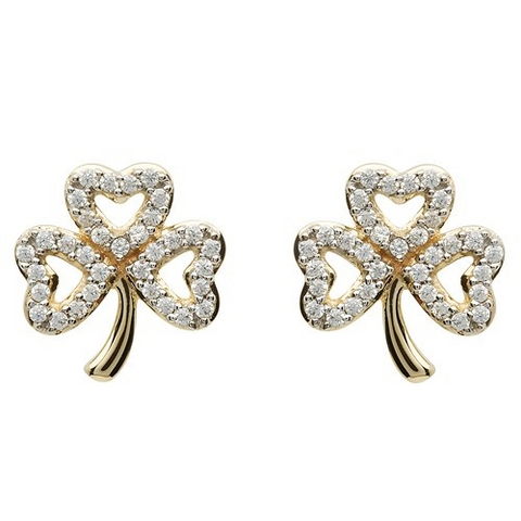 ShanOre 10 Karat Gold CZ Shamrock Stud Earrings