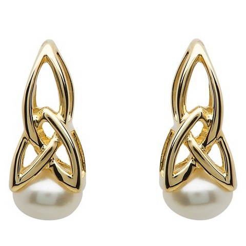 ShanOre 10 Karat Gold Trinity Pearl Earrings
