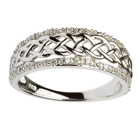 ShanOre 14k White Gold Ladies Celtic Knot Diamond Ring