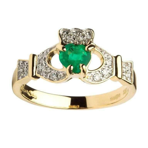 ShanOre 14k Ladies Claddagh Ring With Emerald and Diamond
