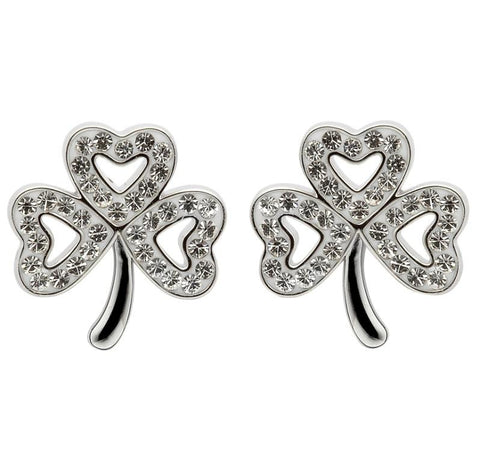 ShanOre SS Swarovski Crystal Shamrock Earrings