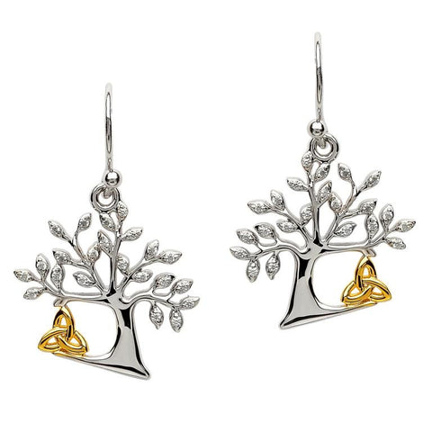 ShanOre Sterling Silver Tree of Life Earrings with GP Accent