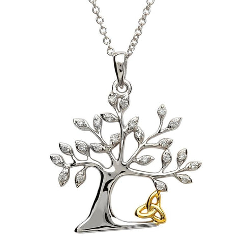 ShanOre Sterling Silver Tree of Life Pendant with GP Accent