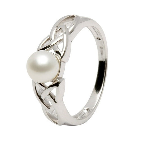 ShanOre Sterling Silver Pearl Trinity Knot Ring
