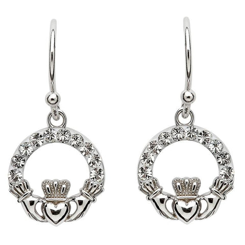 ShanOre SS Swarovski Claddagh Drop Earrings