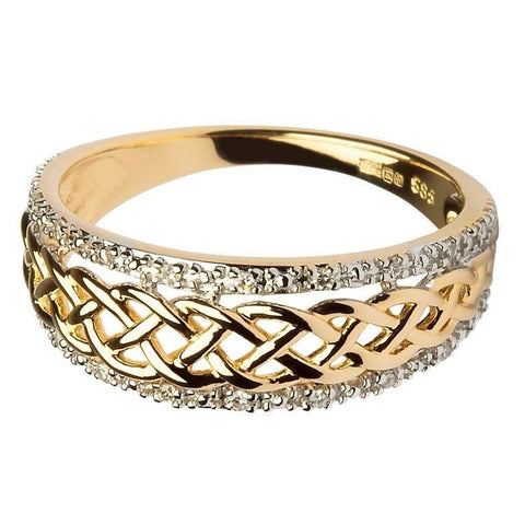 ShanOre 14k Yellow and White Gold Ladies Celtic Knot Diamond Ring
