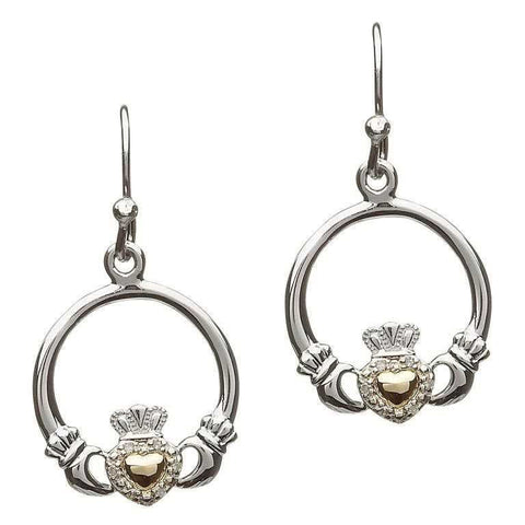 ShanOre Silver Diamond Set Claddagh Earrings