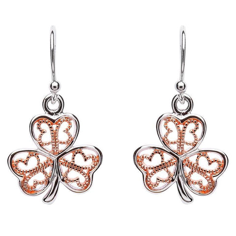 ShanOre Silver Filigree Rose Gold Plated Shamrock Earring