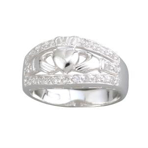 Solvar Ladies Wide Stone Set Claddagh Ring in Sterling Silver