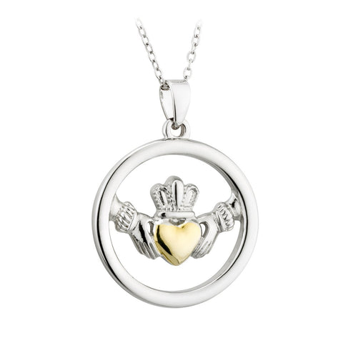 Gold Plated Two Tone Claddagh Pendant