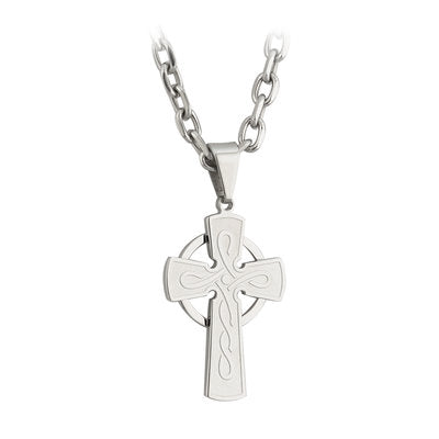 Brushed Stainless Steel Celtic Cross