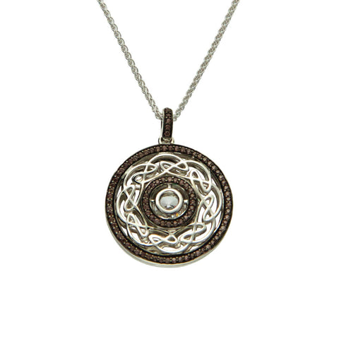 Keith Jack Sterling Silver Brown CZ Reversible Eternity Pendant