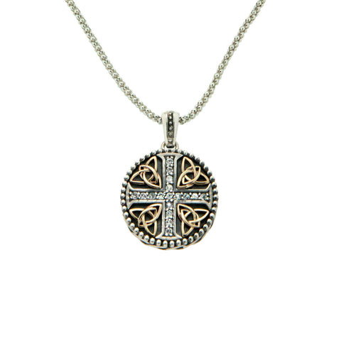 Keith Jack 10k White Sapphire Celtic Cross