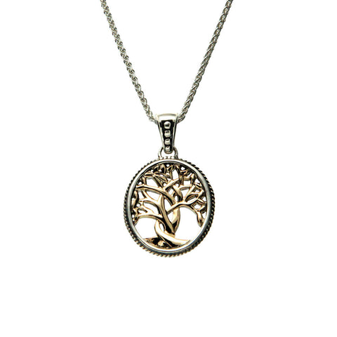 Keith Jack Sterling Silver and 10K Yellow Gold Tree Of Life Pendant