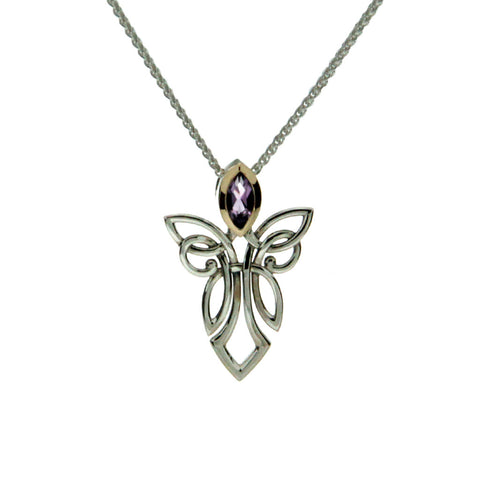 Keith Jack Sterling Silver and Amethyst Guardian Angel Pendant