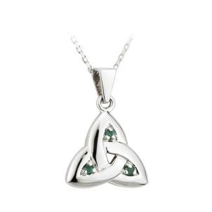 Solvar 14K. White Gold and Emerald Trinity Knot Pendant