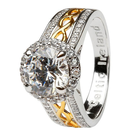 ShanOre White CZ Halo Ring