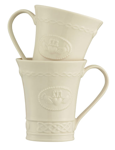 Belleek Set of 2 Claddagh Mugs