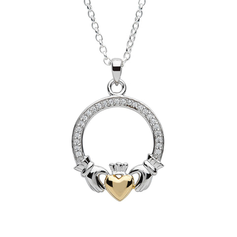 Fado Jewelry Sterling Silver Two Tone Claddagh Pendant