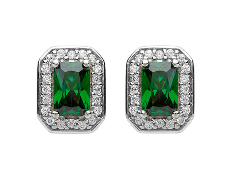 Fado Sheelin Sterling Silver and Green CZ Earrings