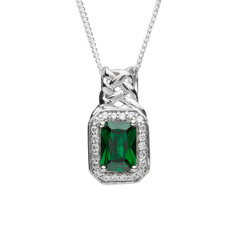Fado Sheelin Sterling Silver and Green CZ Pendant