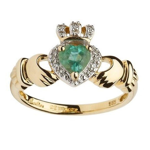 ShanOre 14k Ladies Empress Claddagh Ring With Emerald & Diamond