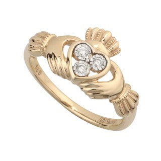 Solvar 14 Karat Yellow Gold Three Stone Diamond Claddagh Ring