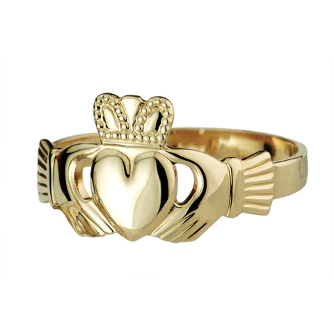 Solvar 14 Karat Yellow Gold Heavy Claddagh Ring