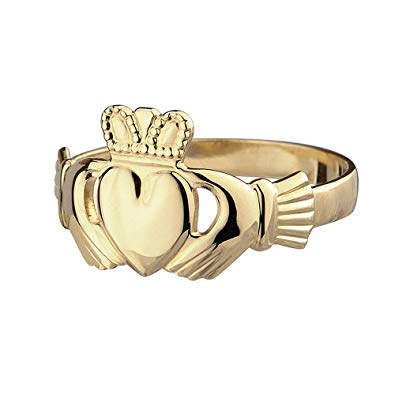 Solvar 14 Karat Yellow Gold Petite Claddagh Ring