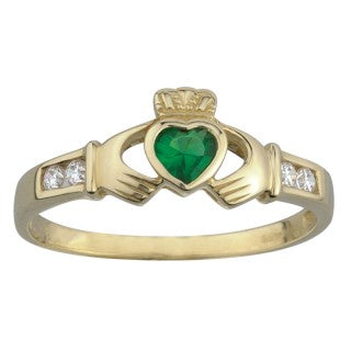 Solvar 10 Karat Gold Synthetic Emerald and Cubic Zirconia Claddagh Ring