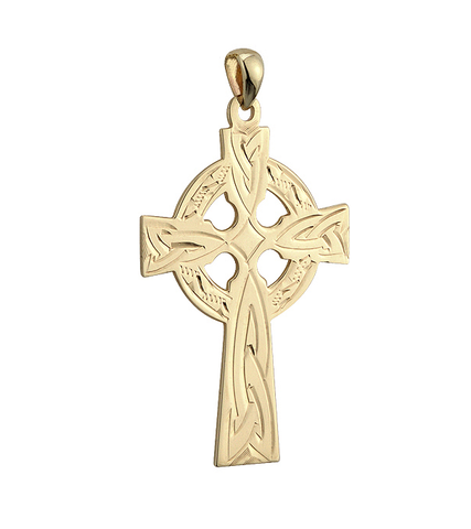 14 K. Large Celtic Cross Hand Engraved