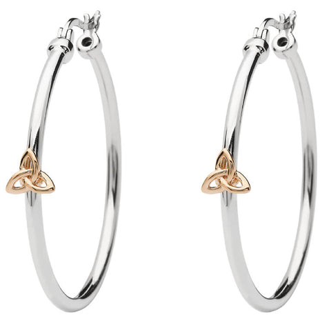 ShanOre SS Hoop Earrings with Rose Gold Plated Trinity Detail