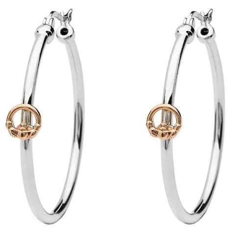 ShanOre SS Hoop Earrings with Rose Gold Plated Claddagh Detail