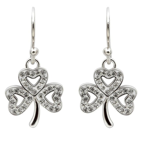 ShanOre SS Swarovski Shamrock Drop Earrings