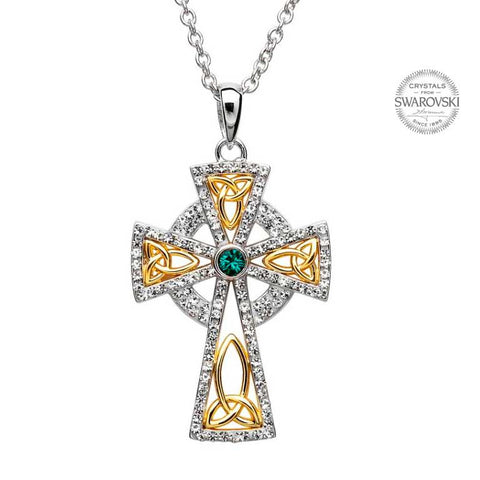 ShanOre SS Swarovski Crystal Gold PlatedCeltic Trinity Cross