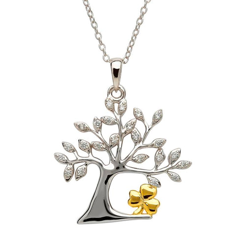 Shanore Jewelry Tree of Life Shamrock Necklace