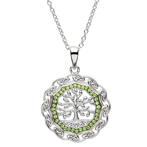 ShanOre SS Swarovski® Crystal with Peridot Tree of Life Round Pendant