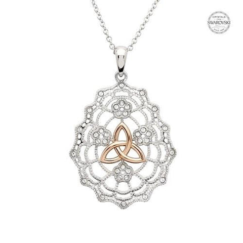 ShanOre SS Swarovski® Irish Lace Rose Gold Trinity Necklace