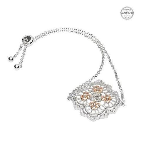 ShanOre SS Swarovski® Irish Lace Rose Gold Shamrock Bracelet