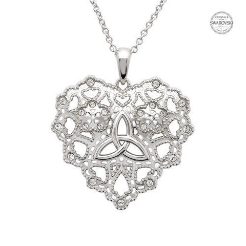 ShanOre SS Swarovski® Irish Lace Heart Trinity Necklace